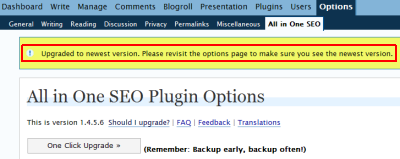 One Click Upgrade option on WordPress All in One SEO Pack plugin