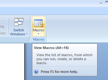 word 2007 macros button
