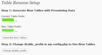 wordpress table rename plugin