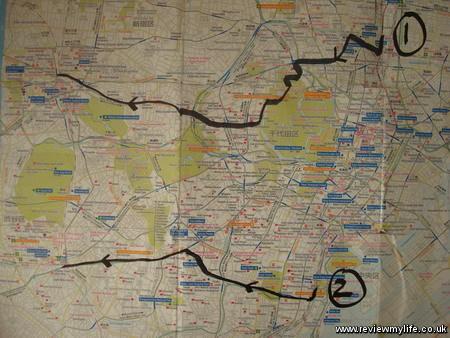 walking across tokyo map small