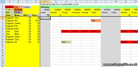 2012 staff holiday planning spreadsheet for Weebly pro templates