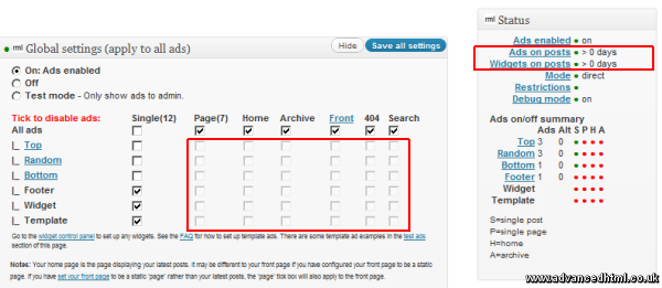 ad injection global settings
