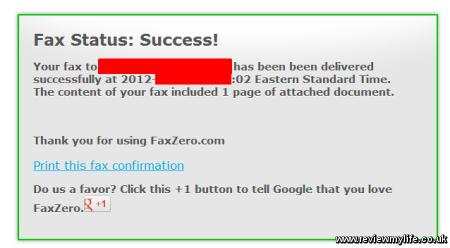 faxzero online fax success