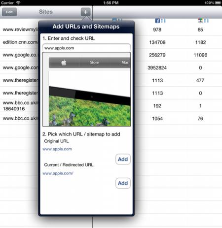 web social stats seo iphone app 1
