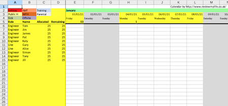 2021 staff holiday planner excel spreadsheet